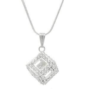 Clear Crystal Open Cube Box Pendant / Necklace